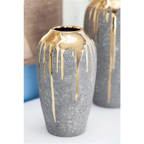 Gold Vase by Litton 10 In Gold Multi Ceramic Decorative