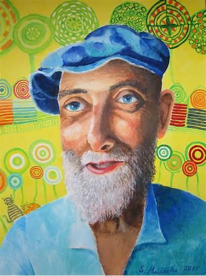 Hundertwasser Portrait Malerei Acryl Leinwand