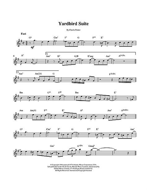 charlie parker yardbird suite sheet  notes chords