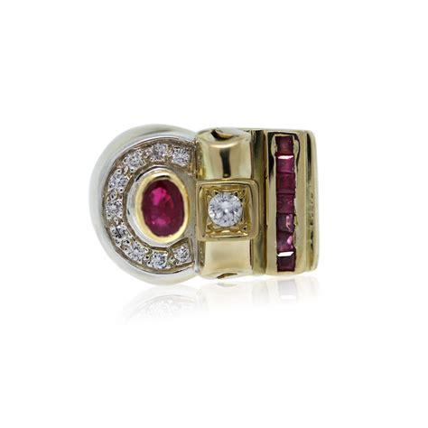 yellow gold diamond  ruby mens ring boca raton