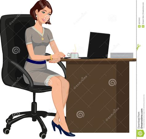 bureau femme femme de bureau derrière un bureau avec un ordinateur