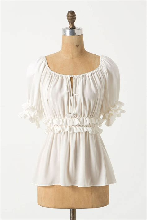 peasant blouses ruched peasant blouse in ivory mystyle