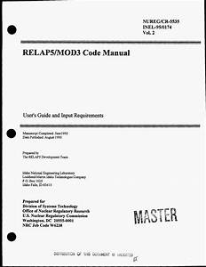 Relap5  Mod3 Code Manual  User S Guide And Input