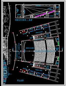 Cinema Theatre Plus Small Restaurant Dwg Block For Autocad