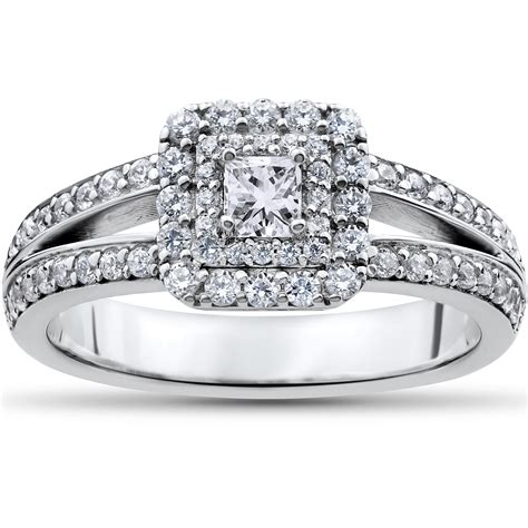 1 ct princess cut halo engagement ring 14k white gold ebay