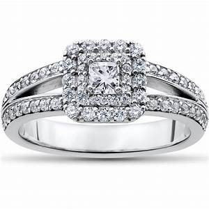 1 ct princess cut diamond double halo engagement ring 14k for 1 ct wedding ring