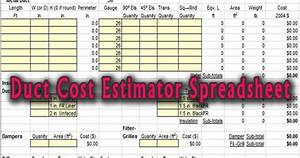 Download Duct Cost Estimator Spreadsheet Xls For Free