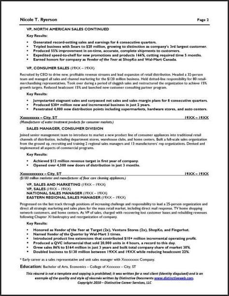 one page executive resume resume sle