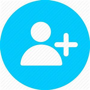 Add, blue, circle, collaborator, person, profile, user icon