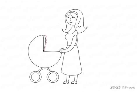 como dibujar  una mama  cochecito de bebe paso  paso
