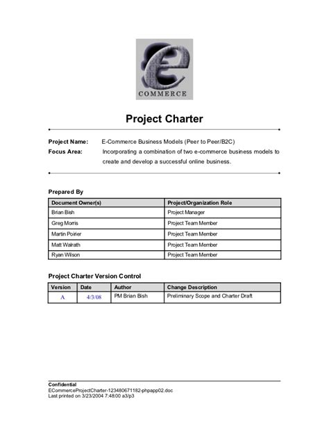 commerce project charter