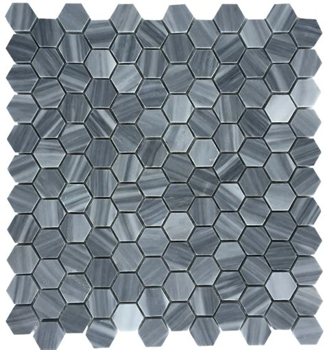 bardiglio gray polished 1 quot hexagon marble mosaic floor and