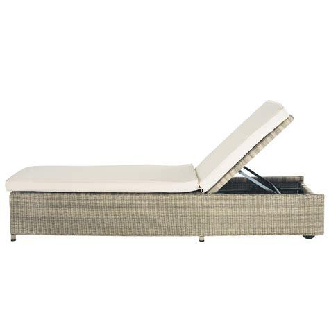white chaise bain de soleil en résine tressée l 209 cm raphaël