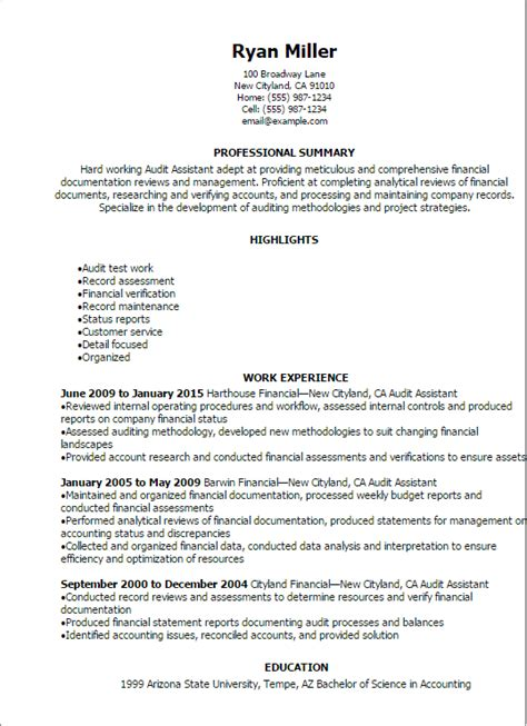 professional audit assistant resume templates to showcase