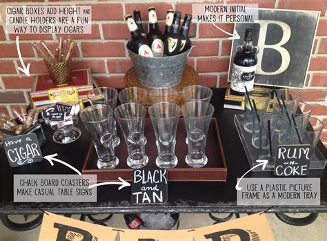 Let's face it, after we reach drinking age there aren't many birthdays adults celebrate. Mans 40th Birthday Ideas Masculine Bar Display 40th Birthday Party Food Displays | BirthdayBuzz