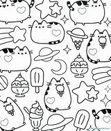 Pusheen Coloring Pages Friends sketch template