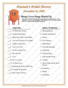 Disney Love Song Bridal Game