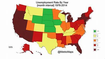 Unemployment State Map States Shows Years Rates