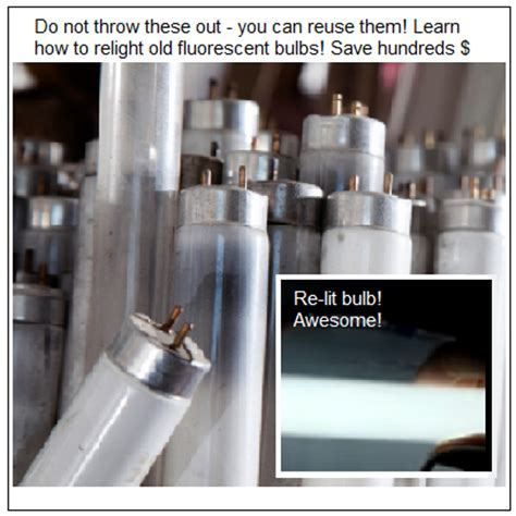 re light burnt out fluorescent light bulbs