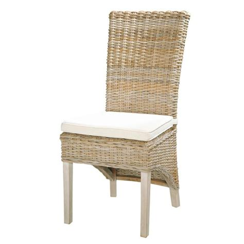 chaise haute maison du monde kubu rattan and solid mahogany chair in grey finish key