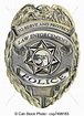 Illustration of a sheriff law enforcement police badge.