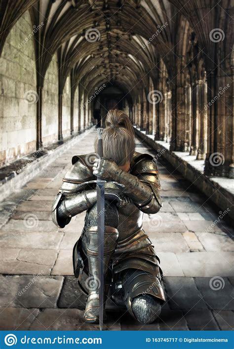 Female Warrior Knight Kneeling Proudly Wearing Decorative ...