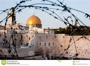 Dome Of The Rock, Western Wall And Barbed Wire Stock Photo ...