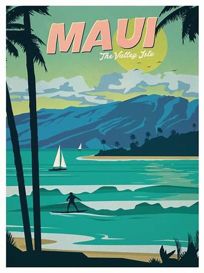 Maui Poster Posters Travel Hawaii Hawaiian Retro