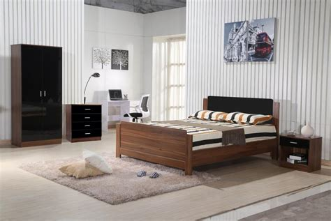 walnut black gloss bedroom furniture  piece trio set