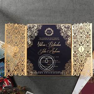 luxury invitation navy gold foil imprinting gate fold With navy laser cut wedding invitations uk