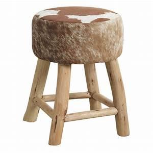 Tabouret Rondin De Bois : tabouret en bois et peau de vache ntb1590c aubry gaspard ~ Teatrodelosmanantiales.com Idées de Décoration
