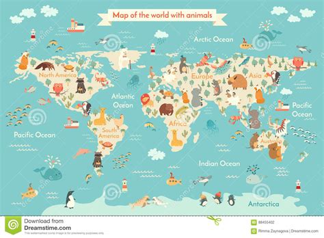 Animal Map Of The World Wallpaper - animal map for kid world vector poster for children