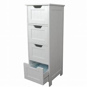 White storage cabinet 4 large drawers home treats uk for Bathroom cupboard storage solutions
