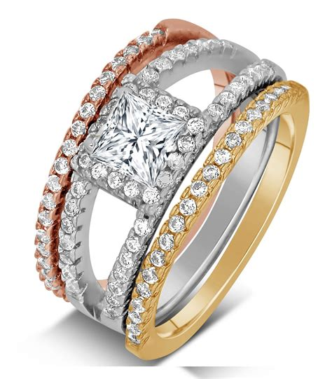 2 carat princess cut tri color white rose and yellow gold trio wedding ring jeenjewels