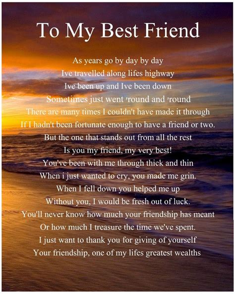letter to my best friend 2 personalised to my best friend poem birthday