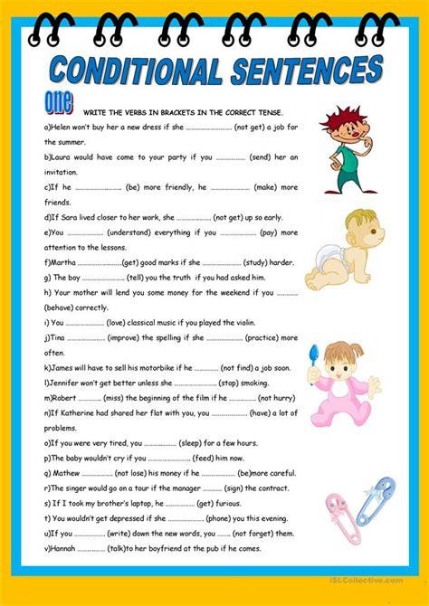 conditional sentences worksheet  esl printable