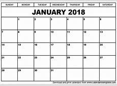 January 2018 Calendar Template printable 2017 calendars