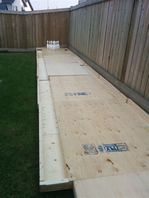 amazing diy wood backyard bowling alley  gardens