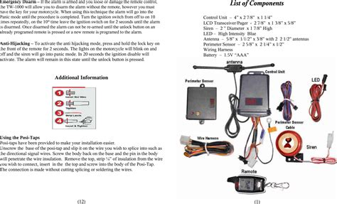 tw 1000 two way motorcycle alarm system user manual