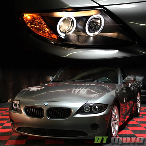 bmw halo lights black 2003 2008 bmw z4 dual led halo projector headlights