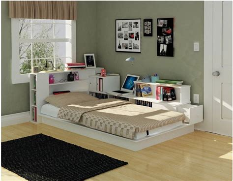 Bookcase Headboard Twin Platform Bed Kids Bedroom