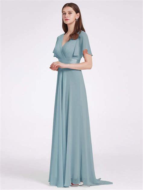 High Waist Maxi Chiffon Bridesmaid Dress with Short ...