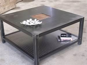Table Basse Loft : table de salon design meuble de style industriel bois et acier sur mesure micheli design ~ Teatrodelosmanantiales.com Idées de Décoration