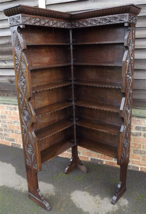 Antique Corner Bookcase by Antique C19th Carved Oak Corner Bookcase Antiques Atlas