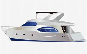 Modern high-grade white vector cartoon yacht, Cartoon ...