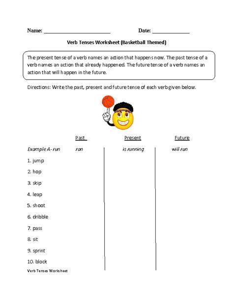 past present future verb tenses worksheet part 1