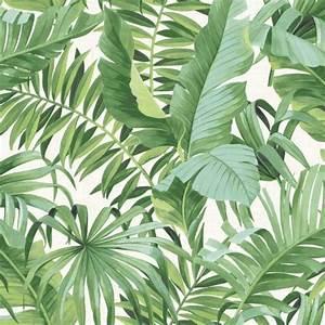 Solstice Tropical Leaf Wallpaper Green