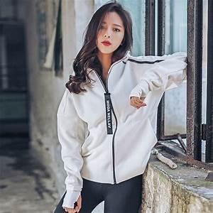 Korean Loose White Bomber Jacket Black Women Fashion Coat Loose Big Zipper Satin Bomber Jacket ...