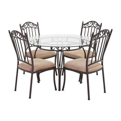 glass top dining table set with 4 black chairs 5