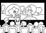 Cinema Coloring Movie Bad Experience Designlooter Watching Drawings 14kb 291px sketch template